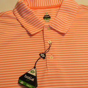 Men bollé Polo Golf Shirt XL Pink Stripes NWT New